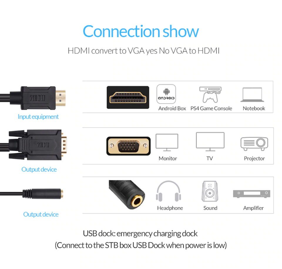 HDMI to VGA MM with Audio Port Cable and USB Power Supply 1